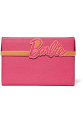 Charlotte Olympia Barbie Vanina Textured Leather Box Clutch Pink