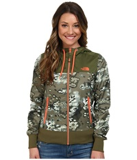 The North Face Bluewind Full Zip Hoodie Burnt Olive Green Oak Camo Women's Coat Gray