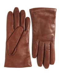 Lord And Taylor Cashmere Lined Leather Gloves Light Brown