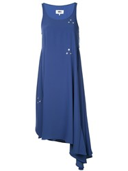 Maison Martin Margiela Mm6 Asymmetric Popper Embellished Dress Women Polyester 36 Blue