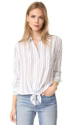 Equipment Daddy Tie Front Blouse Bright White Seaside Blue