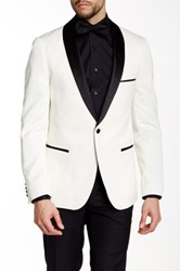 Paisley And Gray Slim Fit Tux Jacket White