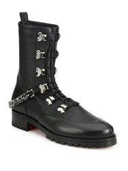 Christian Louboutin Chain Leather Combat Boots Black