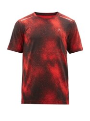 Calvin Klein Performance Spraypaint Print Technical Jersey T Shirt Red
