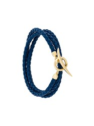 Shaun Leane Quill Wrap Bracelet Leather Gold Plated Sterling Silver Blue