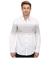 Dkny Long Sleeve Engineered Chest Stripe Shirt Enzyme Wash White Men's Long Sleeve Pullover