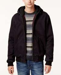 Bass By Ron Bass G.H. And Co. Men's Hooded Faux Sherpa Jacket Black