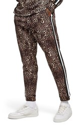 Topman Leopard Print Tape Jogger Pants Brown Multi