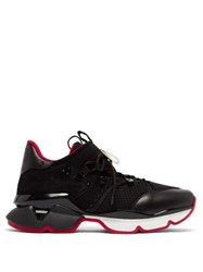 Christian Louboutin Red Runner Neoprene Trainers Black