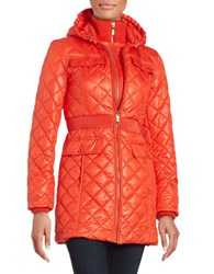 Kate Spade Packable Diamond Quilted Hooded Puffer Coat Lollipop Red
