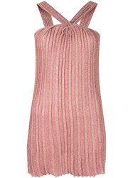 Missoni Striped Pattern Knit Top Pink