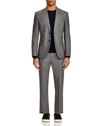 Hardy Amies Houndstooth Slim Fit Wool Suit Mid Grey