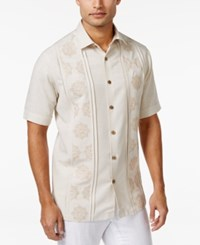 Tasso Elba Tuscan Embroidered Short Sleeve Shirt Only At Macy's Stone Combo