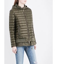 Moncler Honore Double Layer Quilted Shell Jacket Military Green