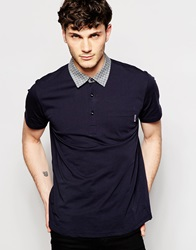 Peter Werth Polo Shirt With Check Collar Navy