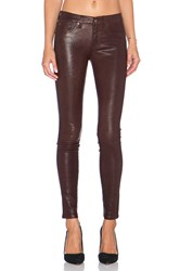 Rag And Bone The Leather Skinny Washed Burgundy