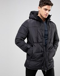 Pull And Bear Pullandbear Padded Parka Jacket In Black Black