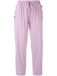 Blugirl Pinstriped Trousers Women Cotton Polyamide Spandex Elastane 42 Pink Purple