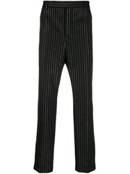 Saint Laurent Lurex Pinstripe Trousers Black