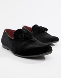 Truffle Collection Velvet Tassel Loafer In Black