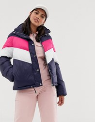 Qed London Padded Coat With Chevron Contrast Stripe Navy