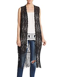 Cliche Open Knit Fringe Vest Black