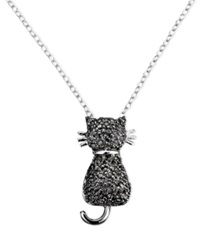 Victoria Townsend Sterling Silver Necklace Black Diamond Accent Cat Pendant