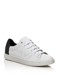 Vince Varin Flannel Detail Low Top Lace Up Sneakers Optic White Gray