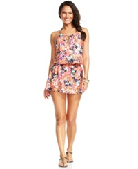 Kenneth Cole Reaction Floral Halter Smocked Dress Cover Up Women's Swimsuit