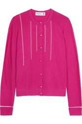 Pringle Of Scotland Tulle Trimmed Merino Wool Blend Cardigan Fuchsia