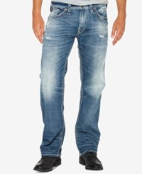 Silver Jeans Co. Men's Zac Relaxed Straight Fit Stretch Ripped Indigo