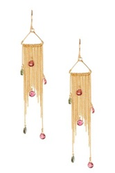 Candela 18K Yellow Gold Plated Sterling Silver Pink And Green Tourmaline Dangle Earrings Multi