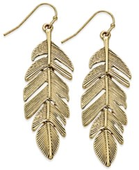 Macy's Gold Tone Feather Drop Earrings