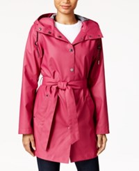 Laundry By Design Hooded Water Resistant Belted Raincoat Fuchsia