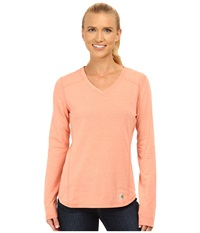 Carhartt Force Long Sleeve V Neck T Shirt Burnt Coral Heather Women's Long Sleeve Pullover Pink