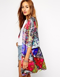 Jaded London Shiny Satin Kimono In Festival Jewel Print Co Ord