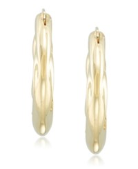 Signature Gold Diamond Accent Draped Oval Hoop Earrings In 14K Over Resin Yellow Gold