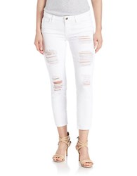 Guess White Destroyed Crop Jeans