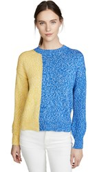 Chinti And Parker Movement Sweater Sky Blue Royal Cream Sunshine