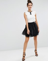 Asos Halloween Mini Tulle Prom Skirt In Flocked Polka Dot Black Grey