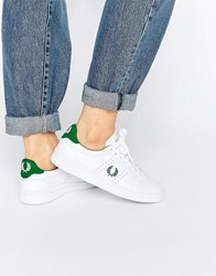 Fred Perry White And Green Leather Trainers White Privet