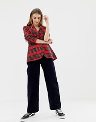Pull And Bear Pullandbear Tartan Check Blazer Red