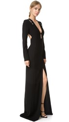 Thierry Mugler Long Sleeve Gown Black