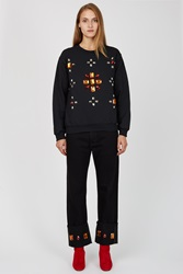 Opening Ceremony Oc Rework Gem Embroidered Cuffed Jeans Black