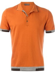 Etro Striped Trim Polo Shirt Yellow And Orange