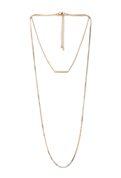 Forever 21 Layered Rectangle Pendant Necklace Gold