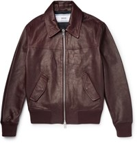 Ami Alexandre Mattiussi Grained Leather Bomber Jacket Red
