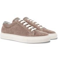 Brunello Cucinelli Leather Trimmed Nubuck Sneakers Taupe