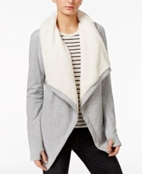 Guess Bailey Fleece Trim Jacket Heather Light Grey Multi