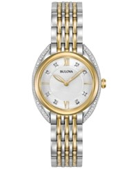 Bulova Women's Diamond Accent Two Tone Stainless Steel Bracelet Watch 30Mm 98R229 Two Tone